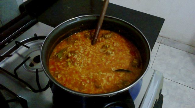 Receta tradicional de arroz con carne