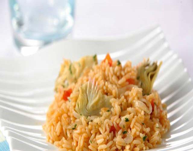 arroz con alcachofa