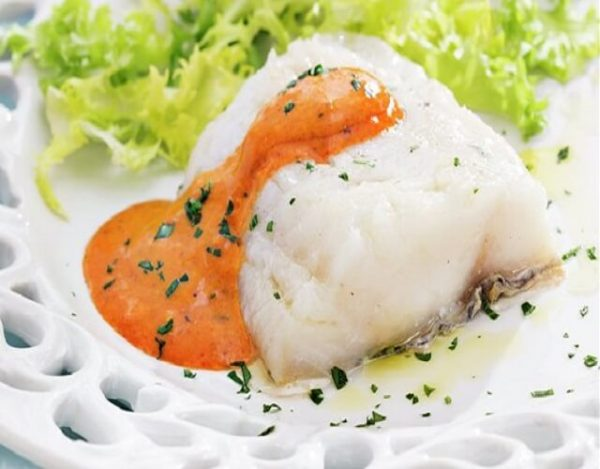 Bacalao a la plancha con salsa romesco