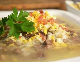 Sopa de picadillo con arroz
