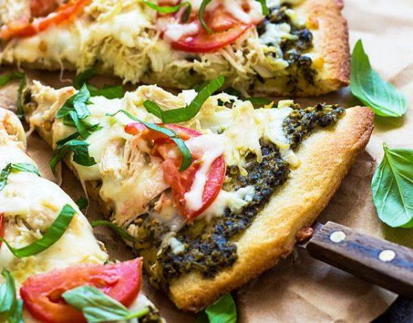 Pizza de Pollo y Pesto