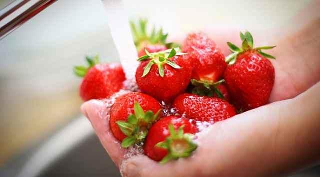 Helado de fresa casero
