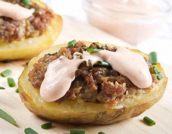 Patatas rellenas de morcilla