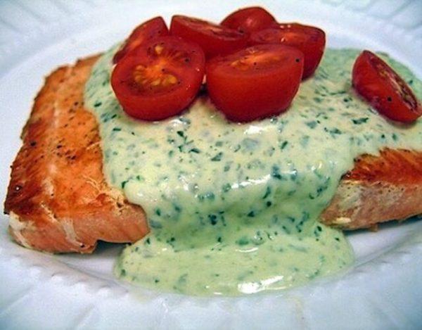 Salmón en salsa de queso