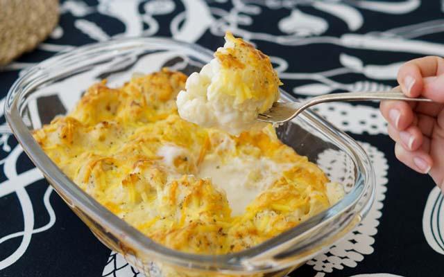 Coliflor a la crema de queso