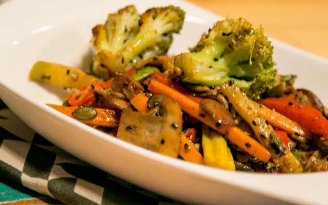 Wok de setas y verduras