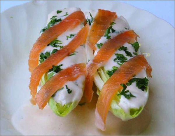 Endivias con salmón