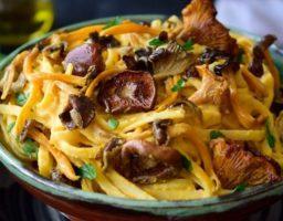 Espaguetis de calabaza con setas