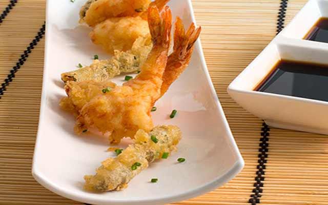 Langostinos en tempura japonesa