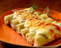 Canelones de jamón y queso