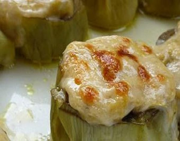 Alcachofas rellenas de foie