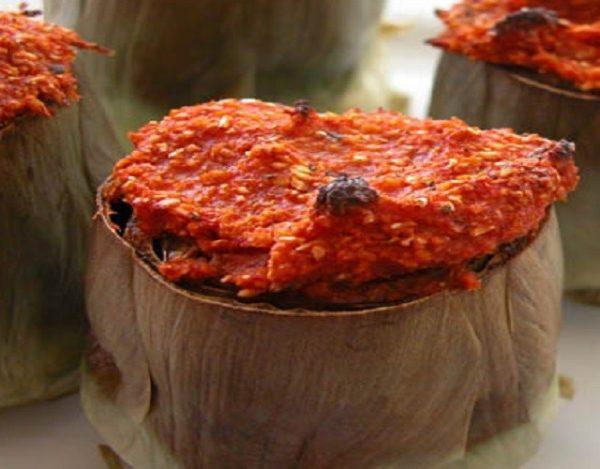 Alcachofas rellenas de sobrasada