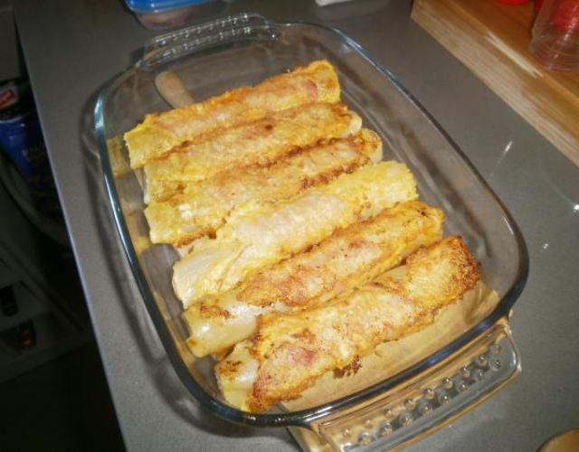 eceta de Puerros rebozados con queso