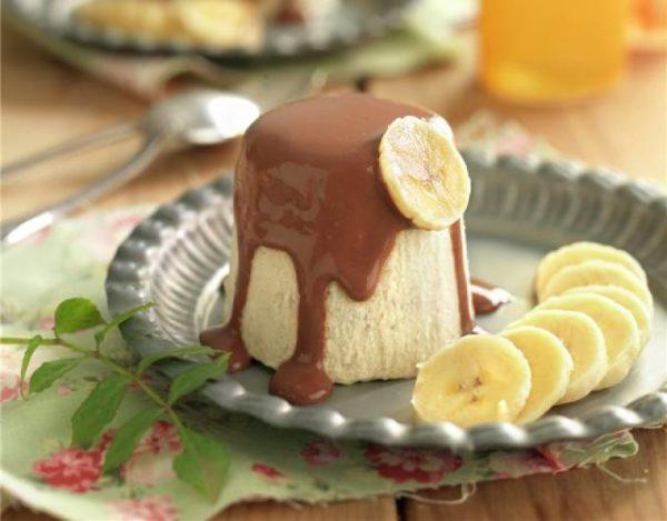 Flan de chocolate y plátano
