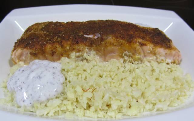 salmón al horno con coliflor