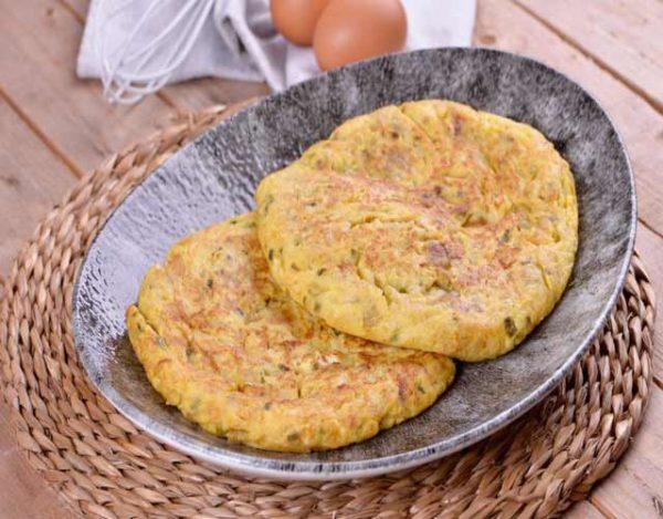 Tortilla de bacalao y pimiento verde