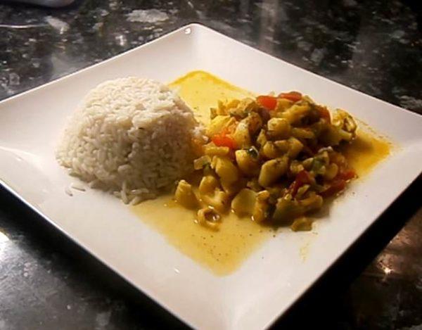Sepia estofada con verduras