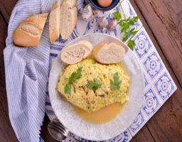 Tortilla de bacalao y queso