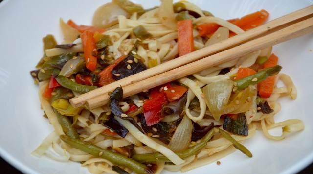 Tallarines Integrales con Verduras
